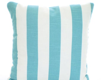 Nautical Aqua Stripe Throw Pillow Covers, Cushions, Coastal Blue Aqua White Stripe Pillows, Beach Cottage Decor, Patio Sun Porch, ALL SIZES