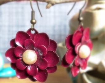 Flower Earrings Burgundy Metal Flower Charm Earrings Gifts for Her