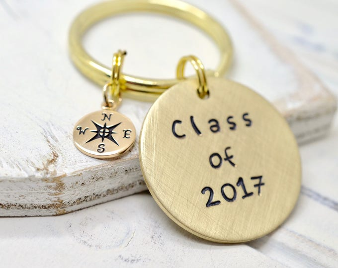Class of 2017 - Personalized Graduation Keychain - Stamped Keychain, High School College Tech Trade School Graduation Gift