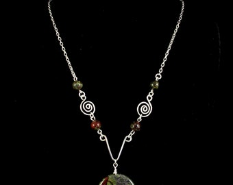 Woman's Necklace,Dragon Blood Jasper, Gemstone Necklace, Silver Necklace, Unique Necklace with Handcrafted Spiral Accents, Beaded Necklace
