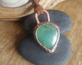 Mint Green Chrysoprase Necklace. Copper Chrysoprase Pendant. Copper Electroform  Natural Stone Necklace. BOHO  Crystal Festival Jewelry.