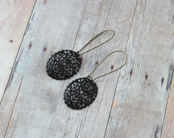 N O I R - Black Lace, Hand Painted Metal Filigree, Antique Brass Drop Earrings