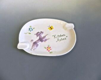 Vintage 50s Enesco Poodle Kitchen Ashes Ashtray - 1950s Poodle decor Spoon Rest Teabag Holder - on sale