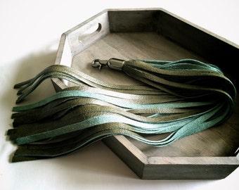 tassel bag accessory | long leather purse tassel | tassel keychain | purse charm | green tassel | leather key fob | leather tassel charm