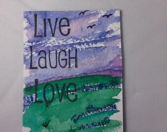 ACEO Magnet Original Watercolor Live Laugh Love Bluebonnet Art