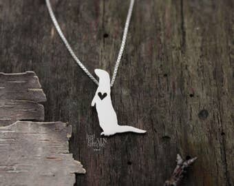 River Otter necklace, tiny sterling silver hand cut pendant with heart, tiny wildlife jewelry