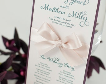 Small, Double-Sided Ceremony Program Card with a Bow