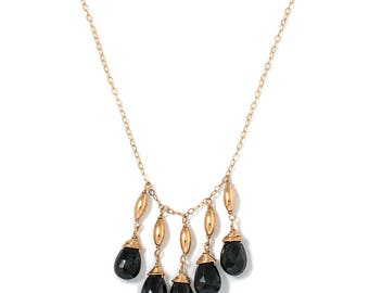 Black Spinel and Gold Long Necklace - Long Gemstone Necklace - Long 14k Gold Filled Black Spinel Gemstone Necklace - Black and Gold Necklace