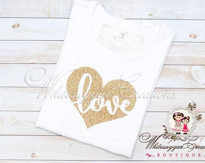 Girls Gold Glitter Heart Shirt, Glitter Heart Shirt, Gold Heart Shirt, Baby Valentines Outfit