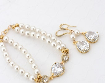Gold Bridal Jewelry Set, Pearl Wedding Earring, Bridal Statement Bracelet, Bridal Earring Gold, Pearl Bridal Bracelet Cubic Zirconia Earring