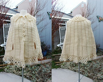 1970's Poncho Cape Crochet Ivory One Size Fits Most Vintage Retro 70s Hipster Hippie Festival Granny Hand Made