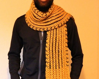 Golden Yellow and Grey Chunky HandKnit Scarf long scarf for men, ready to ship