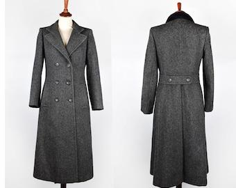 Long Dark Grey Tweed Wool Coat with Satin Lining || Forecaster of Boston