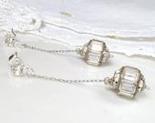 ANTIQUE 1920s Flapper Long Rhinestone Bridal Earrings, Pave Drop Silver Dangle Earrings, Ethereal Vintage Wedding Great Gatsby Downton Abbey