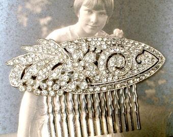 OOAK 1920s Hair Comb, Bridal Art Deco/Nouveau Rhinestone Vintage Wedding Headpiece, Pave Crystal Long Dress Clip to Hairpiece Gatsby Downton