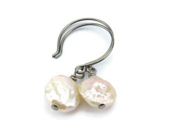 Niobium Earrings Ivory Pearl, Freshwater Coin Pearl Earrings, No Nickel Hypoallergenic Earrings For Sensitive Ears, Niobium Pearl Jewelry