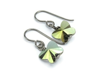 Titanium Earrings Green Butterfly Crystal, Iridescent Green Swarovski Crystal Butterfly Sensitive Ears Earrings for Girls, Niobium Earrings