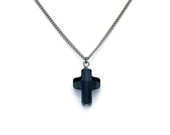 for Dustin Titanium Cross pendant for Titanium Chain Necklace Black Swarovski Crystal, Jet Black Swarovski Cross Crystal