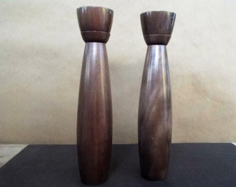 "Pair of Mid Century Modern Japan 10 1/4"" Tall Walnut Salt Shaker and Pepper Grinder Set"