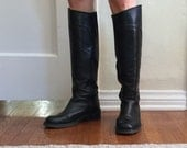 Vintage Riding Boots, Black Leather Tall Boots, Equestrian, Low Heel, Flat, Size 8, by Charles David, Made in Spain