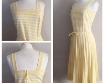 Yellow and White Striped Dress // Yellow Dress Accordion Skirt
