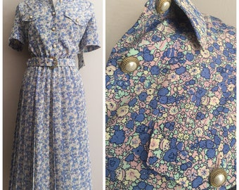 Deadstock Floral Leslie Fay Dress // Blue and Pink Floral Dress // Pearl Buttons