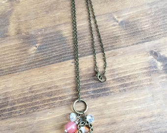Upcycled Charm Necklace:Orange Abalone Bead, Glass Beads