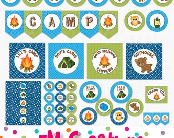 Camping Birthday Party Printable Decorations - Boy Camping Party - Camp Out Printables - Camp Banner Cupcake Toppers  INSTANT DOWNLOAD pdf