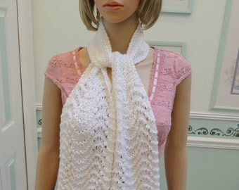 WHITE KNITTED SCARF,Countess  Bathory of Hungary design,  48 inches all acrylic yarn