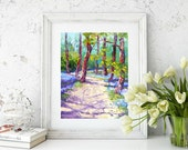 Impressionist Oil palette knife painting Bluebell Wood, English landscape,  Impressionist Palette Knife Oil painting, approx. 10x12 inch