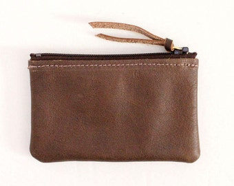 Leather Zipper Coin Case / Card Case / Wallet - Brown
