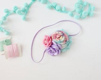 Tulip Tango- lavender aqua yellow pink singed satin rose spring rosette headband bow