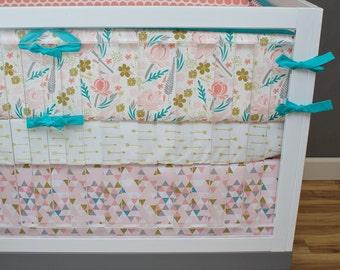 Girl Crib Bedding,Floral Triangle Nursery Bedding Set, Coral, Pink, Salmon, Aqua, Gray, Gold, Woodland, Arrows, Aztec, Dots Tribal Baby Girl