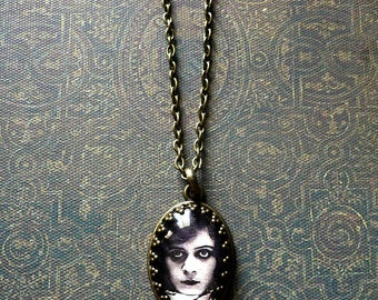 Theda Bara Portrait Necklace - Black and White Picture Jewelry - Silent Movie Star - 1920s Actress - Vamp Necklace