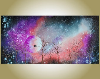Huge Abstract Original Painting 'Coral Amethyst Dreamscape' Surreal Landscape Purple Peach Night Sky Trees Owls Moonlight Stars Violet Art