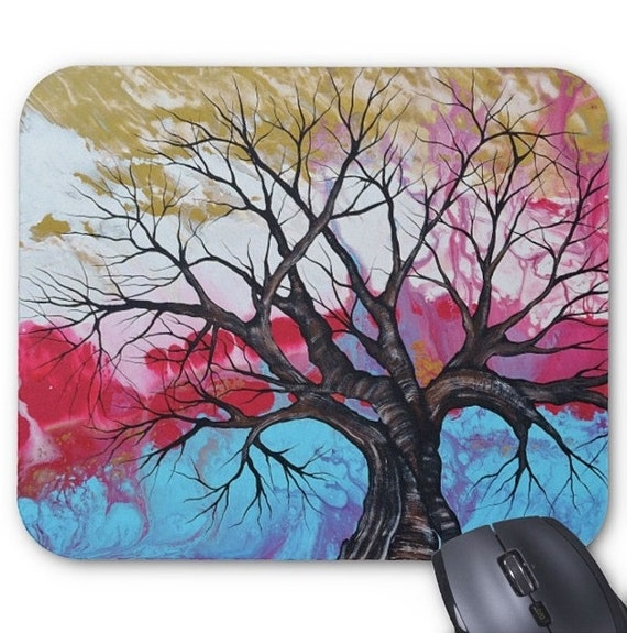 Mousepad Mouse Pad Fine Art Painting Abstract Tree Asian Fine Art Contemporary Modern 'Hidden Treasures' Light Blue Fuchsia Pink Gold Sky