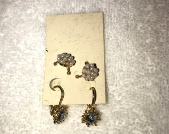 Two Pair of Gold Pearl and Rhinestone Clip and Slide on Earrings
