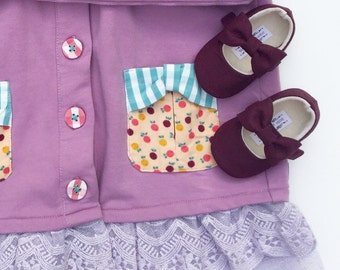 M2M Matilda Jane Once Upon A Time Collection Handmade Soft Soled Baby Shoes Toddler Shoes Plum Shoes Mustard Shoes - Maple