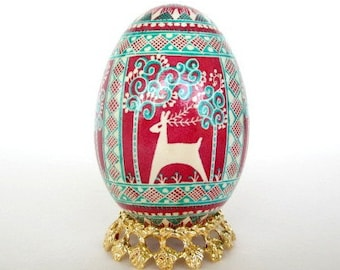 baby first holidays keepsake Christmas Ornament Goose egg hand painted batik Pysanka Reindeer personalize with name and date no extra cost