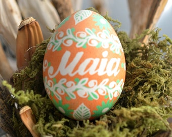 baby's first Easter ornaments gifts keepsakes shower guest gift ideas pregnancy reveal egg tree ornament nursery pendants this egg name Maia