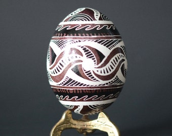 Personalized gift for father Trypillian Pysanka chicken Egg decorated Ukrainian Easter egg put your dad's name date or I live you daddy