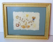 """1996 Framed Pressed Flowers,  Signed Floral Arrangement with Blue Matting & Gold Frame, Interia, """"Wildflowers"""", 10.5""""x8.5"""""""