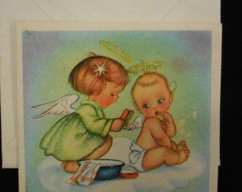 Vintage Christmas card Angel combing baby wings Ars Sacra unused square 1940's greeting holiday cards