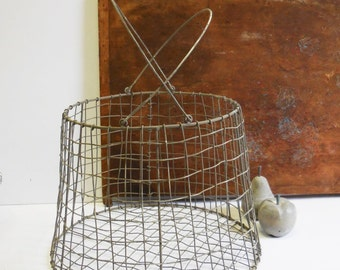 Wire basket kindling firewood storage kitchen farmhouse french country Rustic metal basket w/ handles