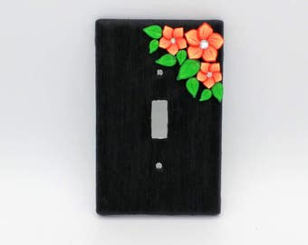 Orange Flower Switchplate; Single Light Switch Cover;  Brushstroke Blossom; Polymer Clay Switch Plate; Style #:ORF03