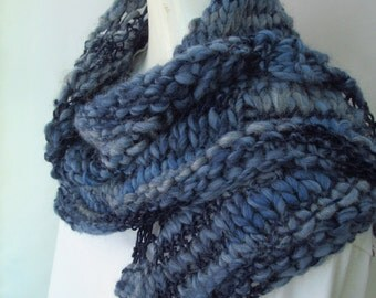 Hand Knitted Blue Triangular Scarf