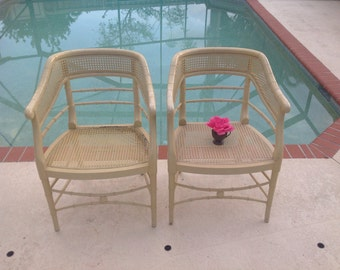 FAUX BAMBOO CANE Chinese Chippendale Arm Chairs Pair of Hollywood Regency Chairs Palm Beach Chic Style On Sale at Retro Daisy Girl