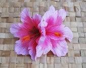 Hawaiian double hibiscus in pink rockabilly pin up retro vintage 50s tiki wedding bride bridal