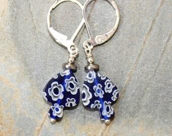 Blue Fish Earrings, Blue Earrings, Millefiori Earrings, Venetian Glass Earrings, Blue Flower Earring, Wire Wrapped Earring, Bohemian Earring