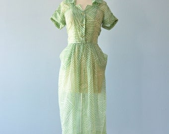 Vintage 1950s Daydress...Sweet Sheer Green and White Novelty Print Day Dress